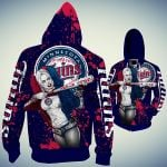 Stocktee Minnesota Twins Limited Edition Over Print Full 3D T-shirt Zip Hoodie S - 5XL