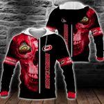 NHL Carolina Hurricanes Skull Hoodie/Zip Hoodie/Tshirt Design 3D Full Printed Sizes S - 5XL MK93003