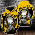 NCAA Michigan Wolverines Skull Hoodie/Zip Hoodie/Tshirt Design 3D Full Printed Sizes S - 5XL SK9508