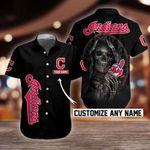 MLB Cleveland Indians Skull Button Shirt/Baseball Shirt Design 3D Full Printed Custom Name Sizes S - 5XL N91026