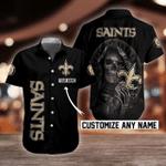 NFL New Orleans Saints Skull Button Shirt/Baseball Shirt Design 3D Full Printed Custom Name Sizes S - 5XL N91302