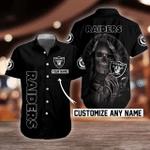 NFL Las Vegas Raiders Skull Button Shirt/Baseball Shirt Design 3D Full Printed Custom Name Sizes S - 5XL N91402