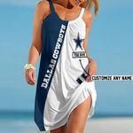 NFL Dallas Cowboys Summer Beach Dress Sizes S - 5XL Custom Name N91709