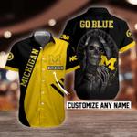NCAA Michigan Wolverines Skull Button Shirt Design 3D Full Printed Custom Name Sizes S - 5XL N91805