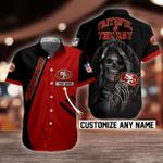 NFL San Francisco 49ers Skull Button Shirt Design 3D Full Printed Custom Name Sizes S - 5XL N91807