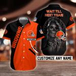 NFL Cleveland Browns Skull Button Shirt Design 3D Full Printed Custom Name Sizes S - 5XL N91808