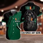 NCAA Miami Hurricanes Skull Button Shirt Design 3D Full Printed Custom Name Sizes S - 5XL N92003