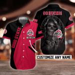 NCAA Ohio State Buckeyes Skull Button Shirt Design 3D Full Printed Custom Name Sizes S - 5XL N92004
