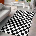 Checkers Black And White 3d Grapic Design Home Decor Rug Carpet