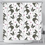 Boston Terrier Dog Hearts Vector Pattern Shower Curtain Fulfilled In US
