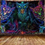 The Psychedelic Owl 3D Printed Tapestry Wall Decoration