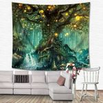 Magical Tree of Life Tapestry Wall Psychedelic Forest in Star Moon Night
