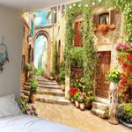 Old Italian Arch Park Castal Flowers Street Ocean Tapestry Wall Hanging For Living Room