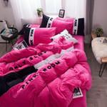 Pink Flannel Bedding Set Bedroom Decor