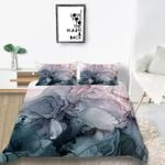 Blush And Payne Grey Flowing Abstract Fashion Soft Bedding Set Home Decor
