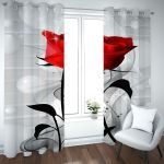 Red Rose Grey Background Printed Window Curtain Home Decor