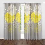 White Yellow Gray Flowers Printed Window Curtain Home Decor