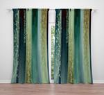 Striped Watercolor Boho Nautical Green Printed Window Curtain