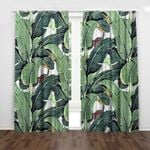Tropical Green Palm Printed Window Curtain Home Decor