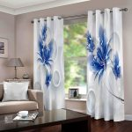 Blossom Blue And White Printed Window Curtain Home Decor