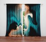 Marble Teal Black And Tan Swirl Printed Window Curtain