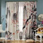 Cherry Blossom Mountain Printed Window Curtain Home Decor