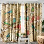 Birds And Blossoms Printed Window Curtain Home Decor