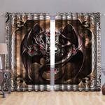 Dragon Art The Death Skull Printed Window Curtain