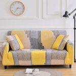 Yellow And Gray Abstract Stripe Pattern Art Pattern Sofa Couch Cover