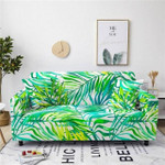 Fresh Green And Yellow Palm Leaf Pattern Home Decoration For Living Room Sofa Cover