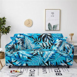 Blue Monstera And Heliconia Leaf Pattern Home Decoration For Living Room Sofa Cover