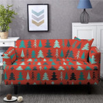 Christmas Pine Tree Pattern And Red Background Home Decoration For Living Room Sofa Cover
