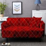 Quadrangle Pattern And Red Background Home Decoration For Living Room Sofa Cover