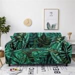 Tropical Green Leaf Pattern And Dark Background Home Decoration For Living Room Sofa Cover