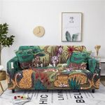 Cute Tropical Animals In Forest Pattern And Yellow Background Home Decoration For Living Room Sofa Cover