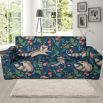 Blue Raccoon Floral Pattern Theme Sofa Cover