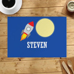 Rocket Full Moon Custom Name Printed Placemat Table Mat