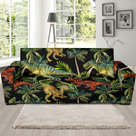 Dino Dinosaur Palm Leaf Pattern Background Sofa Cover