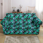 Peace And Love Sign Blue Themed Pattern Sofa Cover