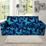 Blue Leather And Butterfly Print Sofa Cover