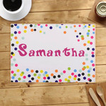 Colorful Confetti Dots Custom Name Printed Placemat Table Mat