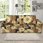 Steampunk With Floral Pattern Theme Sofa Cover