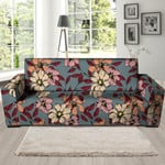 White Flower And Pink Leaf Print Sofa Cover