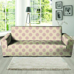 Brown Leather And Cream Polka Dot Sofa Cover