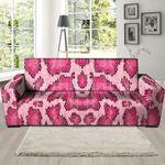 Pink Snakeskin Print Pattern Sofa Cover