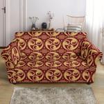 Yellow Yin Yang Style Pattern Red Theme Sofa Cover