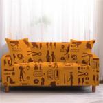 Ancient Egypt Symbols Orange Theme Sofa Cover