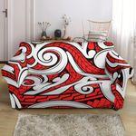 Mori Polynesian White And Red Pattern Sofa Cover
