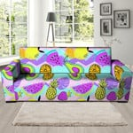 Mix Fruit Pineapple And Watermelon Hawaiian Print Sofa Cover