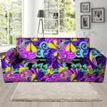 Neon Hippie Psychedelic Mushroom Print Sofa Cover